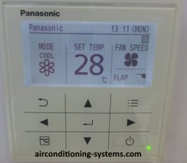 Panasonic LCD panel control to control air conditioner unit if customers prefer the control to be mounted on the wall instead of using the wireless remote control.