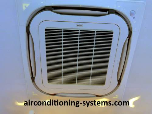 Daikin Ceiling Cassette indoor unit is flushed to the ceiling of the house or office. Looks good aesthetically.
