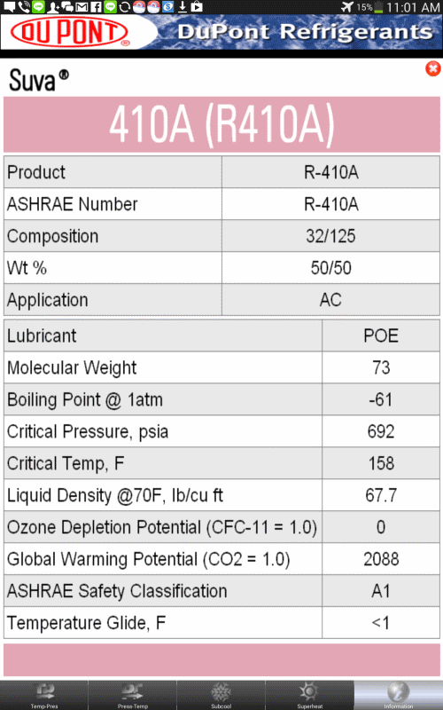 The commonly used refrigerants included in the apps: